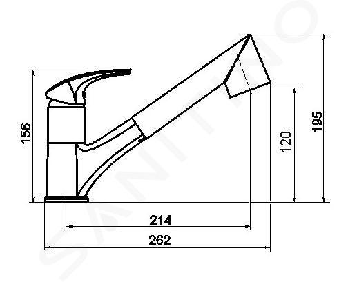 Novaservis Metalia 57 - Keukenkraan met uittrekbare handdouche a met omstelkraan, grijs 57081,68