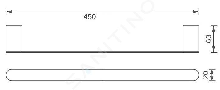 Novaservis Titania Naty - Handdoekhouder, lengte 450 mm, zwart 66627,5
