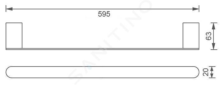 Novaservis Titania Naty - Porte-serviettes, longueur 600 mm, noir 66628,5