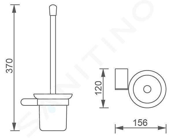 Novaservis Titania Naty - WC-borstel wandmodel met houder, zwart/mat glas 66633,5