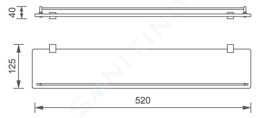 Novaservis Titania Naty - Tablette, longueur 520 mm, noir/verre 66653,5