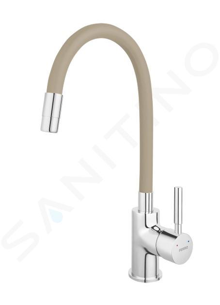 Novaservis Ferro - Robinetterie d'évier avec bec flexible, beige/chrome 70710,0BE