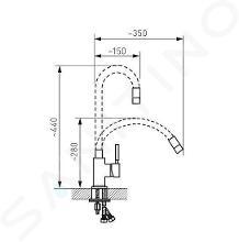Novaservis Ferro - Keukenkraan met flexibele arm, rood/chroom 70710,0CV