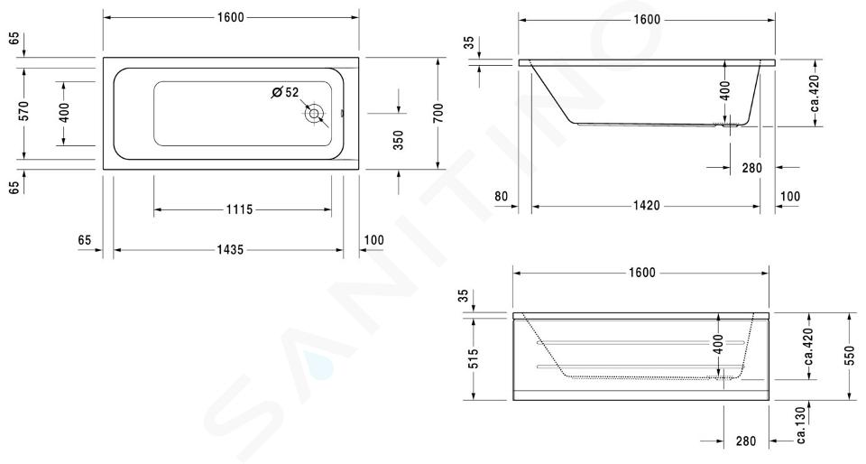 Duravit D-Code - Baignoire 1600x700 mm, blanc alpin 700096000000000