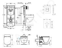 Grohe Rapid SL - Set de bâti-support, cuvette et abattant IdealStandard, plaque de déclenchement Skate Cosmo, Aquablade, SoftClose, chrome 38528SET-KU