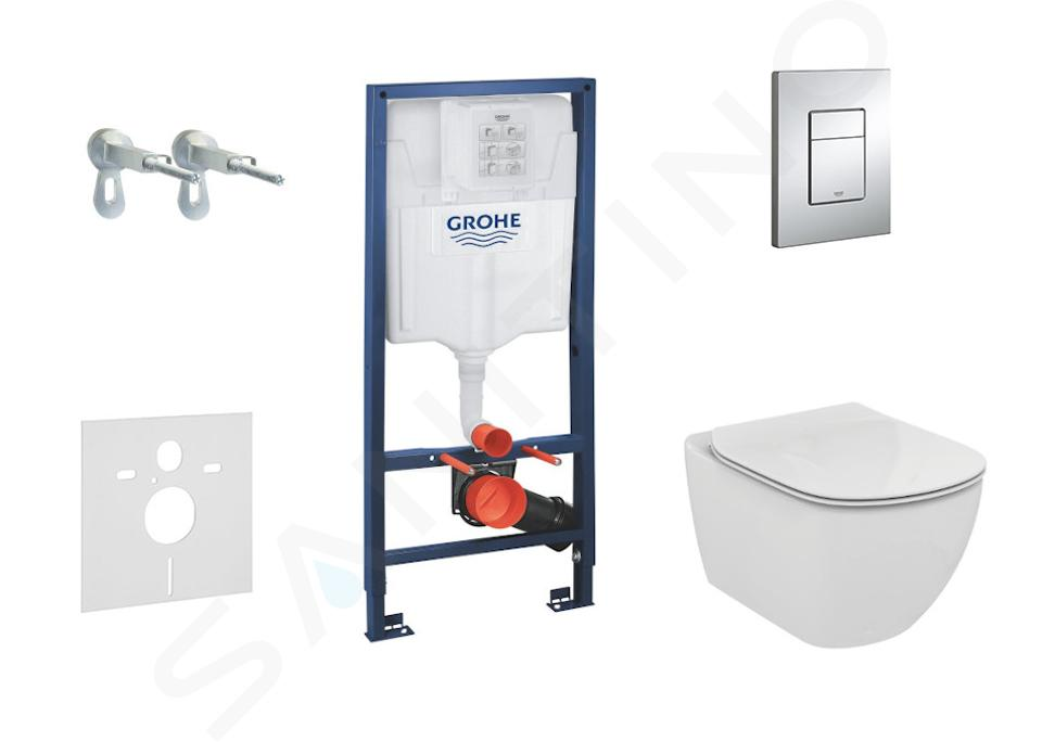 Grohe Rapid SL - Complete toiletset Aquablade wandcloset+ Ideal Standard WC zitting, Skate Cosmo bedieningsplaat, SoftClose, chroom 38528SET-KU