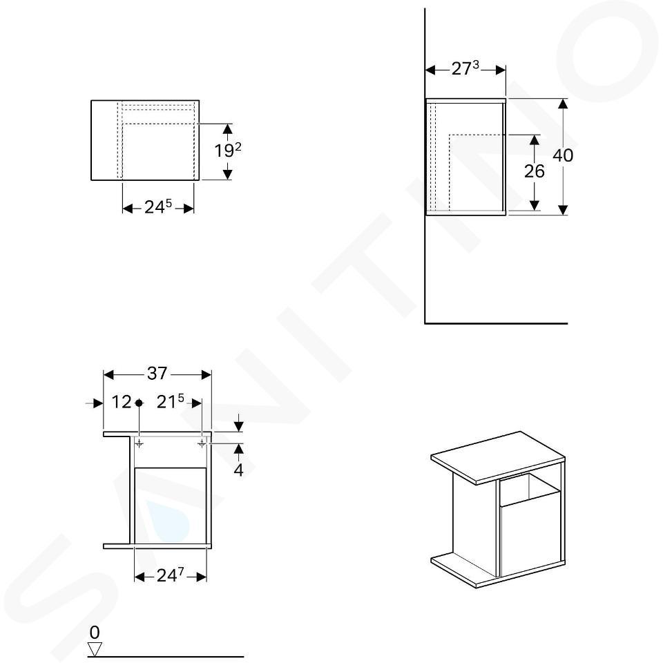 Geberit iCon - Élément latéral 370x400x245 mm avec boîte de rangement, lave 841238000