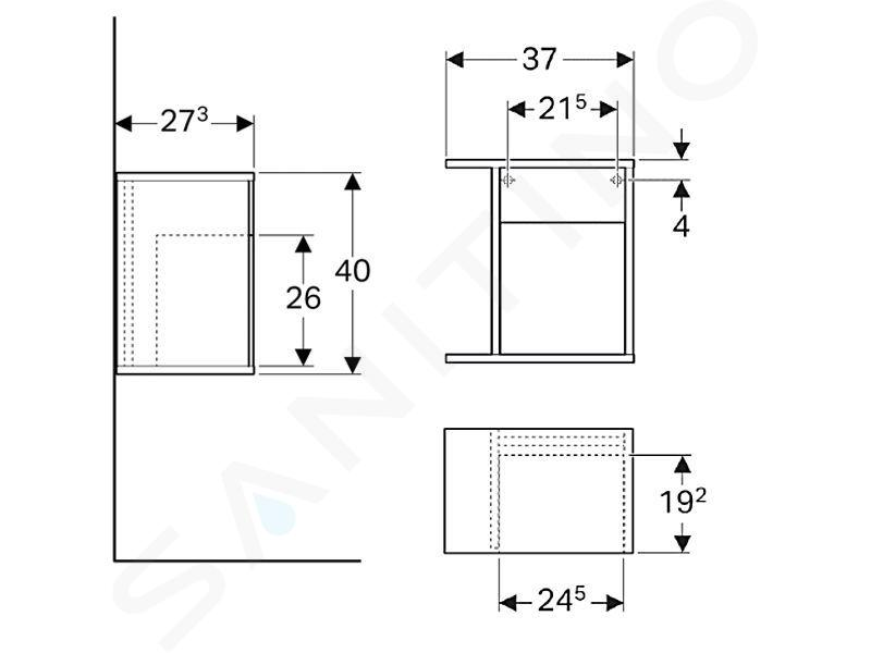 Geberit iCon - Seitenregal 370x400x273 mm, mit Staubox, weißmatt 841237000