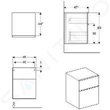 Geberit iCon - Onderbouw zijkast met 2 laden 450x600 mm, eikenhout 841047000