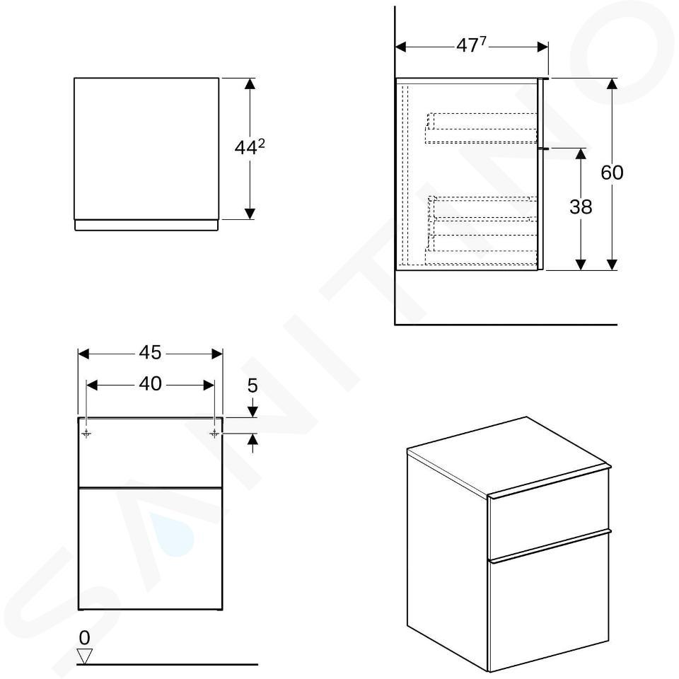 Geberit iCon - Meuble latéral 450x600 mm avec tiroirs, chêne naturel 841047000
