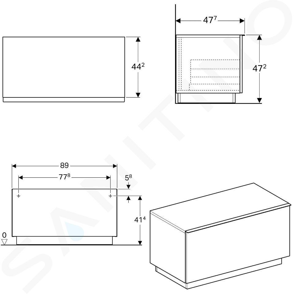Geberit iCon - Onderbouw zijkast met interne lade 890x472 mm, mat wit 841090000