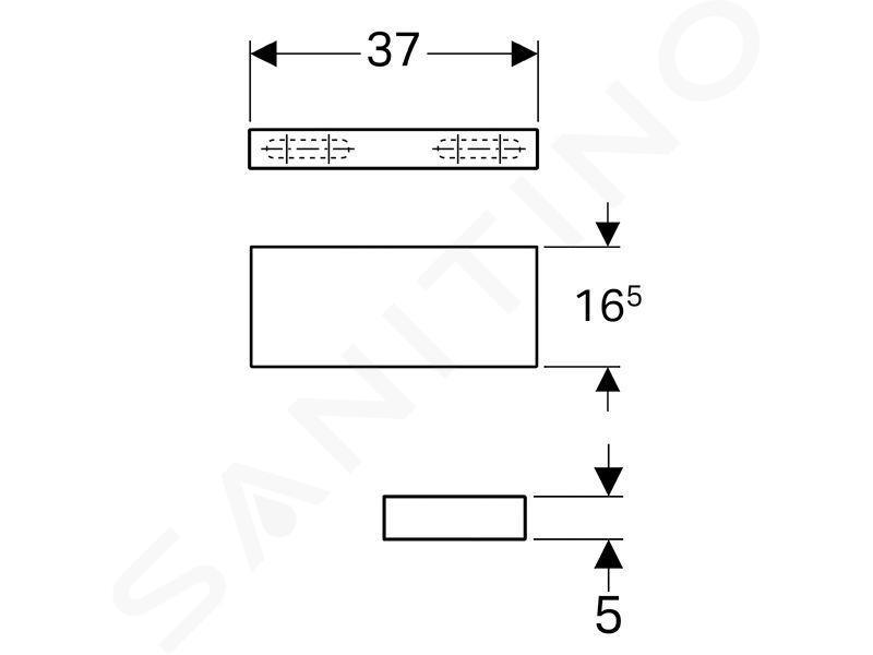 Geberit iCon - Planchette 370x165 mm, mat wit 841337000