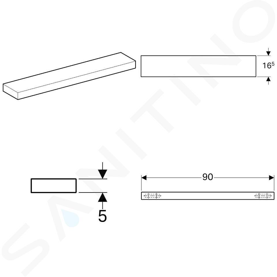 Geberit iCon - Planchette 900x165 mm, mat wit 841990000