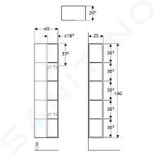 Geberit Citterio - Regal 1600x400 mm mit Spiegel, Eiche graubraun 500.569.JJ.1