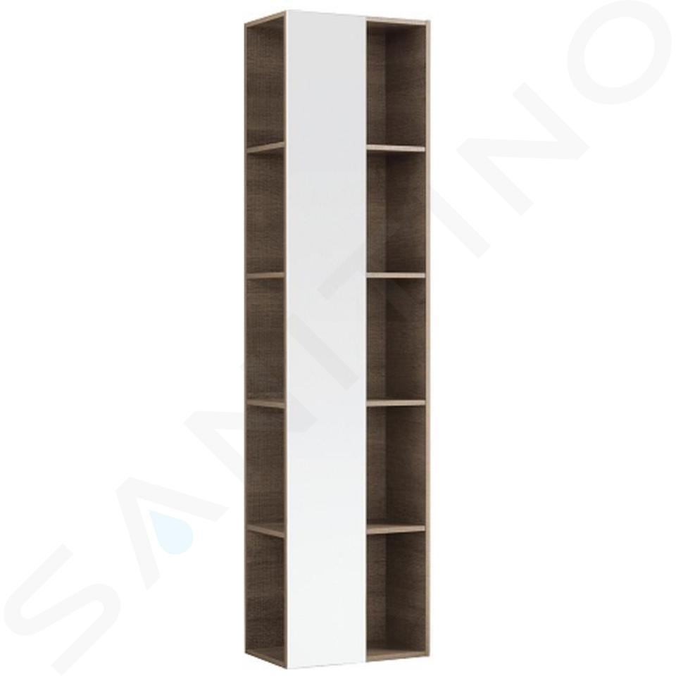 Geberit Citterio - Hoge open kast met spiegel 1600x400 mm, eik grijsbruin 500.569.JJ.1
