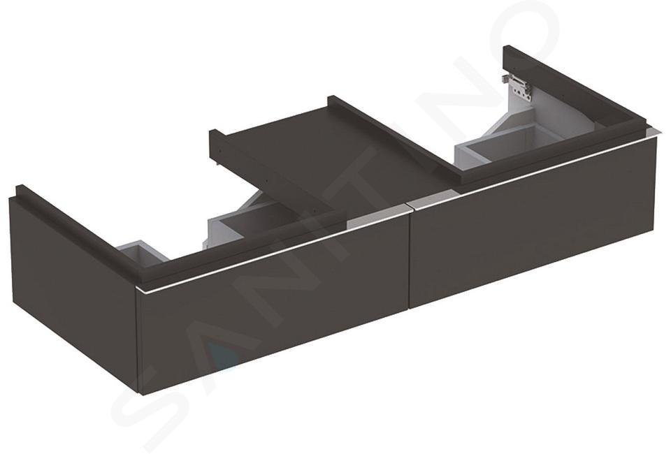 Geberit iCon - Onderkast voor dubbele wastafel met 2 laden 500 mm, lava look 841321000