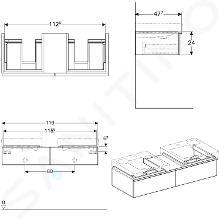 Geberit iCon - Meuble sous double lavabo 500 mm avec plage de dépose, 2 tiroirs, chêne naturel 841322000