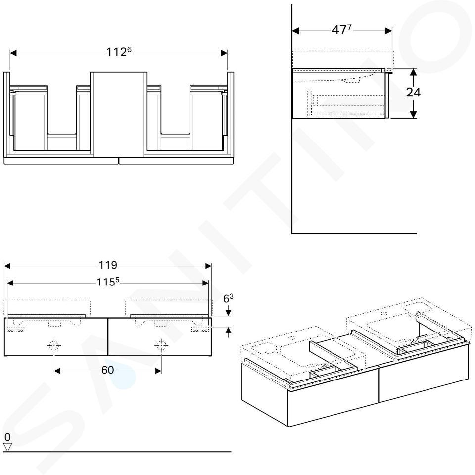 Geberit iCon - Waschtischunterschrank für Doppelwaschtisch 500 mm mit Ablagefläche, 2 Auszüge, Eiche natur 841322000