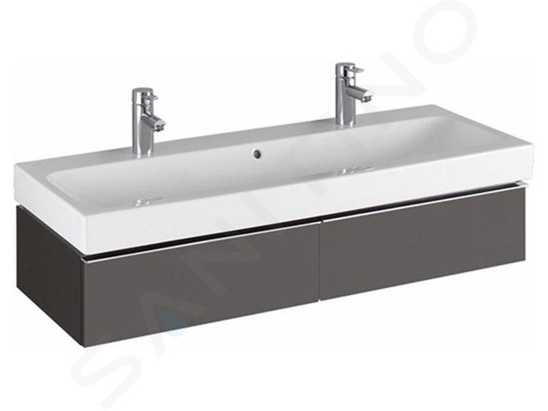 Geberit iCon - Waschtischunterschrank für Doppelwaschtisch 1200 mm, 2 Auszüge, lava 841121000