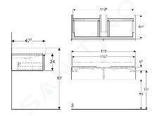Geberit iCon - Onderkast voor dubbele wastafel met 2 laden 1200 mm, mat wit 841120000