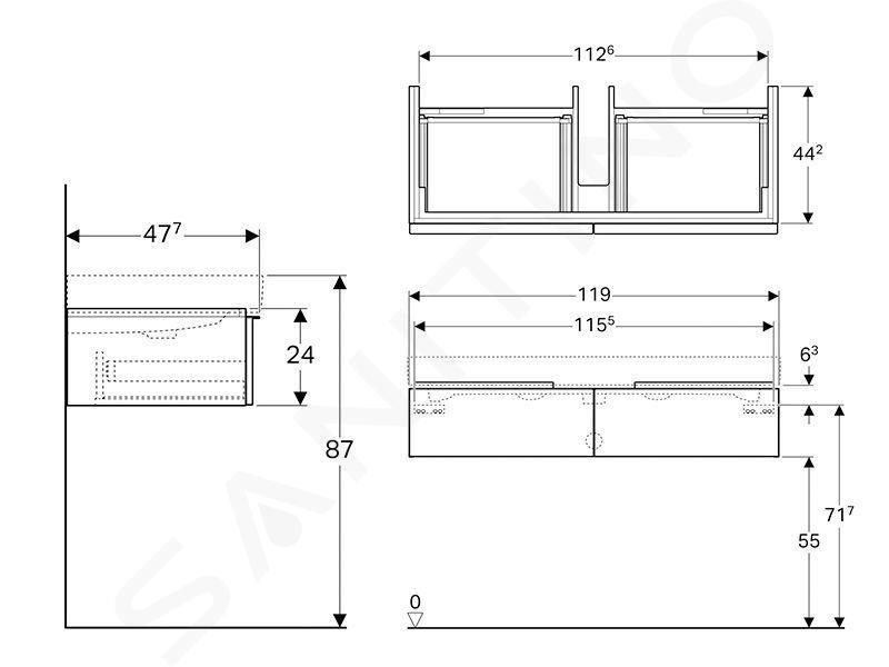 Geberit iCon - Waschtischunterschrank für Doppelwaschtisch 1200 mm, 2 Auszüge, weißmatt 841120000