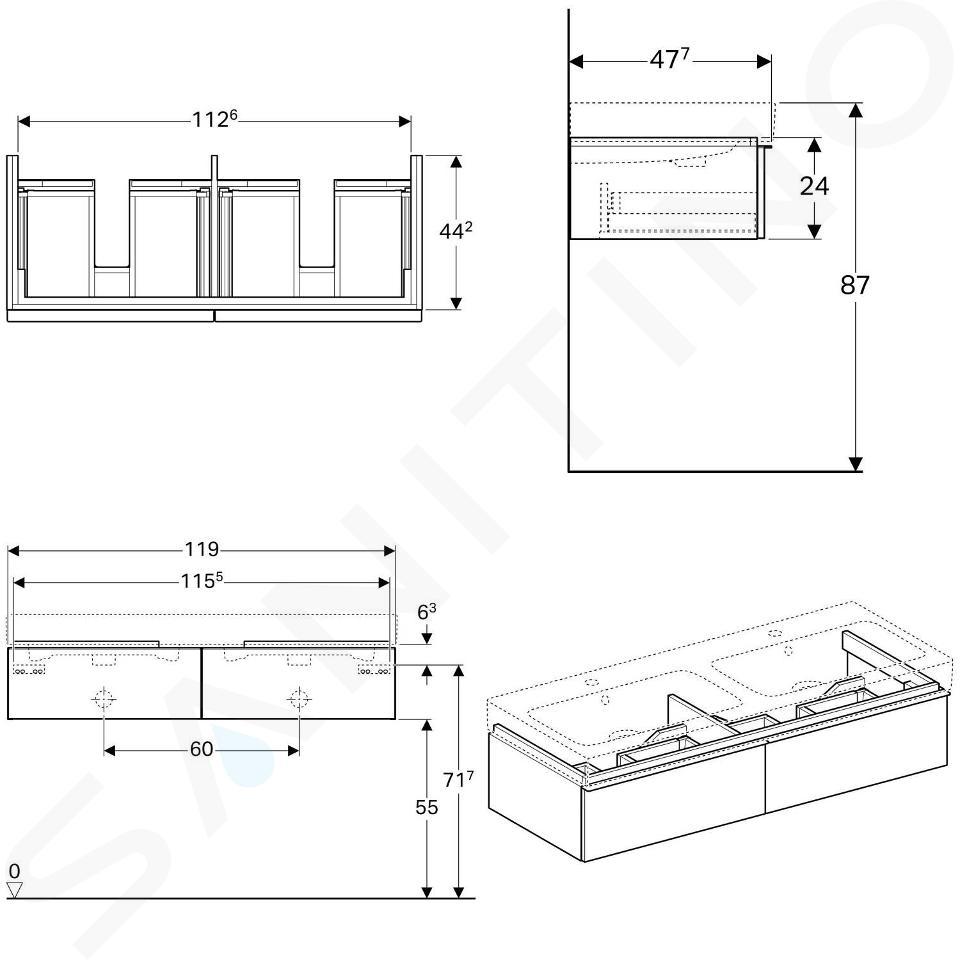 Geberit iCon - Onderkast voor dubbele wastafel met 2 laden 1200 mm, mat wit 841220000