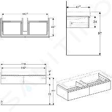 Geberit iCon - Onderkast voor dubbele wastafel met 2 laden 1200 mm, eikenkhout 841122000
