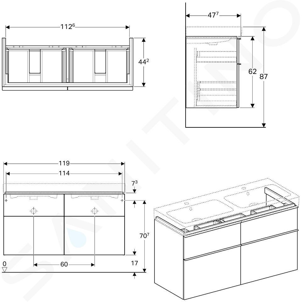 Geberit iCon - Waschtischunterschrank für Doppelwaschtisch 1200 mm, 4 Auszüge, lava 841521000