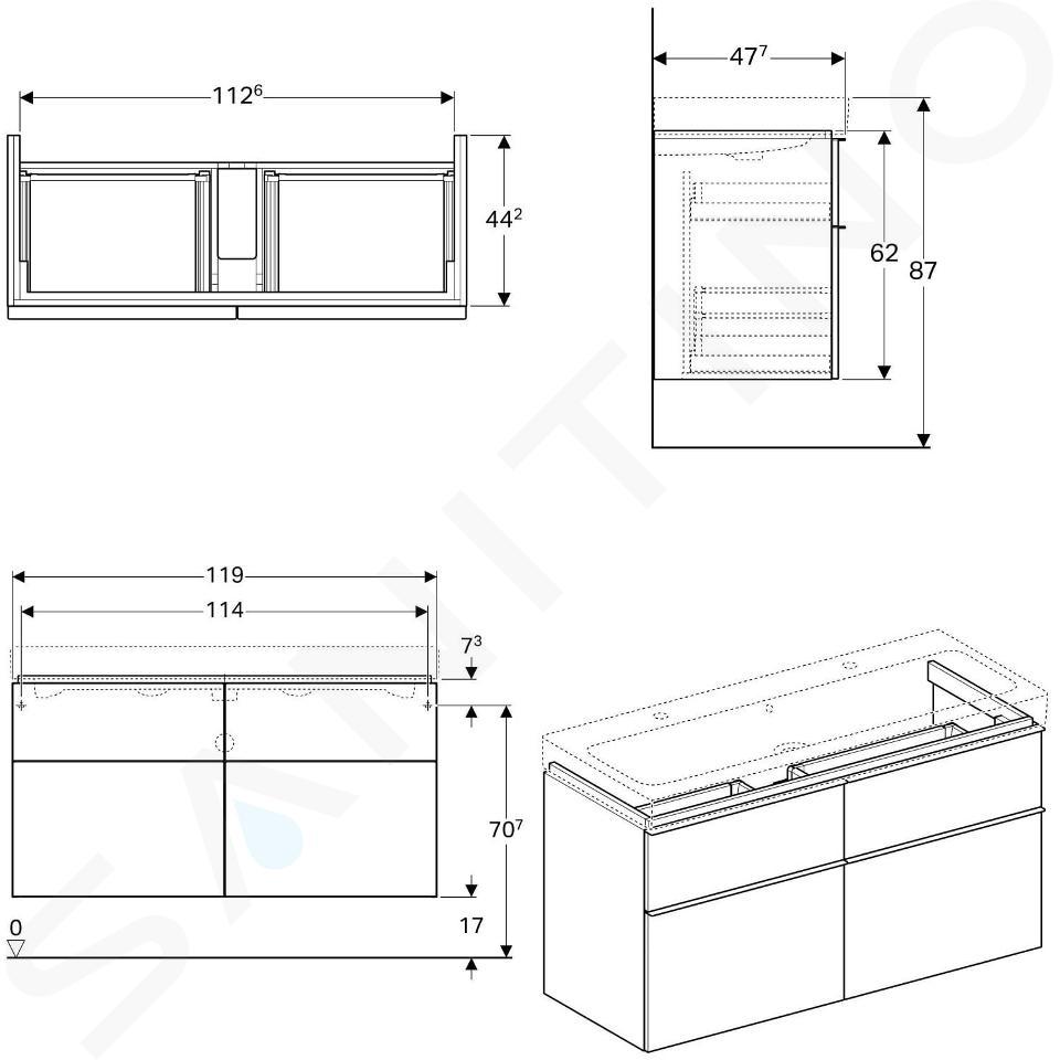 Geberit iCon - Onderkast voor dubbele wastafel met 4 laden 1200 mm, mat wit 841420000