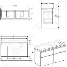 Geberit iCon - Onderkast voor dubbele wastafel met 4 laden 1200 mm, mat wit 841520000