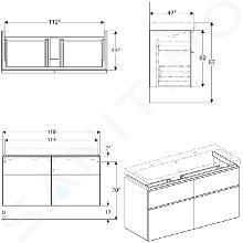 Geberit iCon - Onderkast voor dubbele wastafel met 4 laden 1200 mm, eikenkhout 841422000