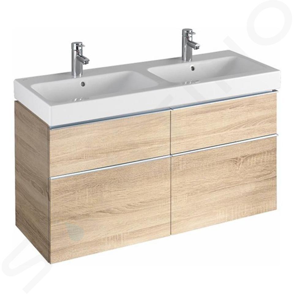 Geberit iCon - Waschtischunterschrank für Doppelwaschtisch 1200 mm, 4 Auszüge, Eiche natur 841522000