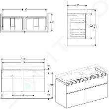 Geberit iCon - Onderkast voor dubbele wastafel met 4 laden 1200 mm, eikenkhout 841522000