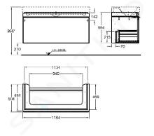 Geberit Citterio - Meuble sous lavabo 1200 mm, noir poli/chêne gris brun 500.566.JJ.1