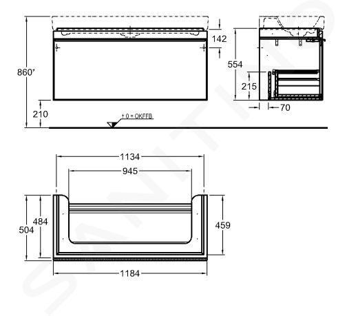 Geberit Citterio - Wastafelonderkast 1200 mm, glanzend zwart/eik grijsbruin 500.566.JJ.1