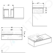 Geberit iCon - Wastafelonderkast 500 mm met bijzetplank, mat wit 841490000