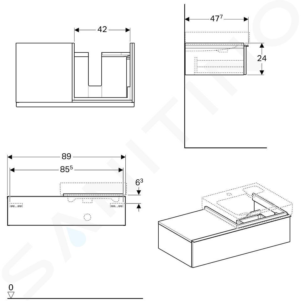 Geberit iCon - Waschtischunterschrank 500 mm mit Ablagefläche, weißmatt 841590000