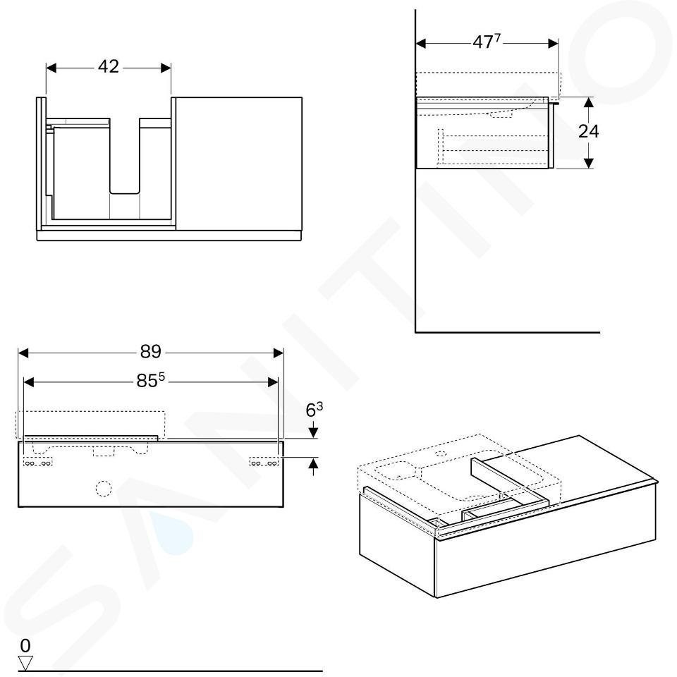 Geberit iCon - Wastafelonderkast 500 mm met bijzetplank, eikenkhout 841492000