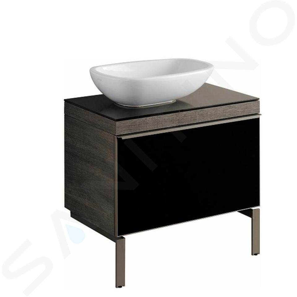 Geberit Citterio - Unterschrank für Aufsatzwaschtisch 560 mm, schwarz glänzend / graubraun Eiche 500.558.JJ.1
