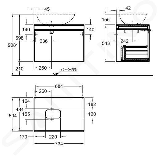 Geberit Citterio - Meuble bas pour vasque à poser 560 mm, noir poli/chêne gris brun 500.558.JJ.1