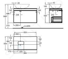 Geberit Citterio - Unterschrank für Aufsatzwaschtisch 560 mm, schwarz glänzend / graubraun Eiche 500.560.JJ.1