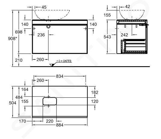 Geberit Citterio - Wastafelonderkast 560 mm voor waskom, glanzend zwart/eik grijsbruin 500.560.JJ.1