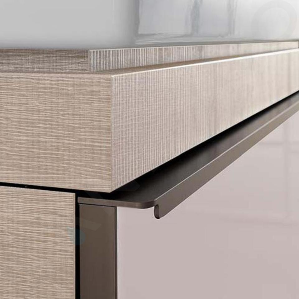 Geberit Citterio - Meuble bas pour vasque à poser 560 mm, gris brun poli/chêne beige 500.560.JI.1