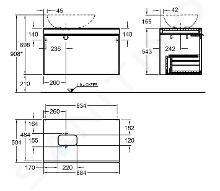 Geberit Citterio - Wastafelonderkast 560 mm voor waskom, glanzend grijsbruin/eik beige 500.560.JI.1