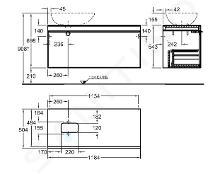 Geberit Citterio - Unterschrank für Aufsatzwaschtisch 560 mm, graubraun glänzend / Eiche beige 500.561.JI.1