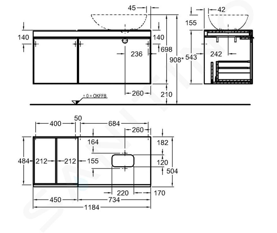 Geberit Citterio - Meuble bas pour vasque à poser 560 mm, avec plage de dépose, noir poli/chêne gris brun 500.565.JJ.1