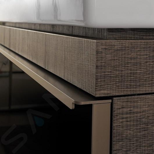 Geberit Citterio - Unterschrank für Aufsatzwaschtisch 560 mm, mit Ablagefläche, schwarz glänzend / graubraun Eiche 500.565.JJ.1