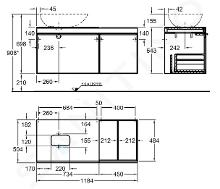 Geberit Citterio - Unterschrank für Aufsatzwaschtisch 560 mm, mit Ablagefläche, graubraun glänzend / Eiche beige 500.564.JI.1