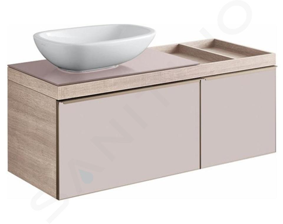Geberit Citterio - Wastafelonderkast 560 mm voor waskom, met bijzetplank, glanzend grijsbruin/eik beige 500.564.JI.1