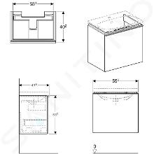 Geberit Acanto - Waschtischunterschrank 600 mm, schwarz 500.614.16.1